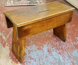 Vintage Primitive Wooden Carry Bench Step Stool Ottoman 21x15x10