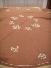 VINTAGE RETRO COFFEE COLOUR LINEN EMBROIDERED LARGE ROUND TABLECLOTH & 8 NAPKINS