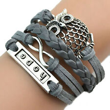Handmade Multilayer Large Owl, Hope and Infinity  Braided Leather Bracelet