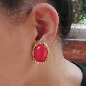 red cabochon clip on earrings
