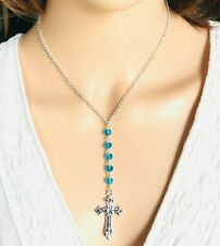 """Classy Cross Pendant Beads 18"""" Necklace Christian March Birthstone New"""