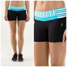 LULULEMON fast track shorts in black and spry blue twin stripe size 4 nwot