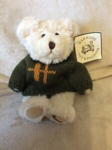 Small Vintage Harrods Bear In Jumper. Collectible Teddy Bear. See Description