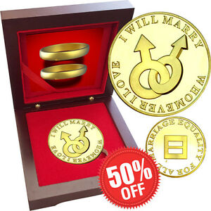 Valentine SAME SEX MARRIAGE Gay Male 1oz Gold layered Proof Silver Coin Rosewood