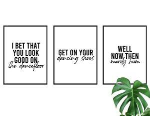Set of 3 Arctic Monkeys Lyrics Mardy Bum Dancefloor Wall Art A3 A4 Print Poster