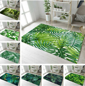 Tropical Green Leaves Warm Baby Crawling Soft Area Rugs Rome Carpet Floor Mat