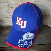 Vintage Kansas University Jayhawks Bill Logo Strapback Hat Ball Cap - NOS