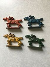 Circa 1930s Minature Cast Iron Horse And Jockey Race Horse Game 4 Colors