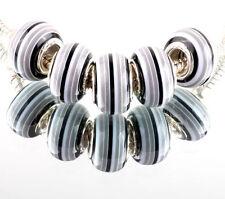 10 x rayé Murano Charm Bead noir gris s'adapte à la plupart European Charm Bracelets