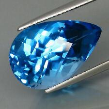 12.87 Ct. Swiss Blue Topaz Brazil Pear Checkerboard Eye Clean