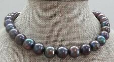 "HUGE 18""13-16mm south sea genuine black multicolor perfect round pearl necklace"
