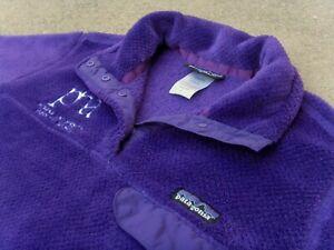 PATAGONIA Re-Tool Snap-T Pullover fleece Jacket w logo women's Sz L Purple