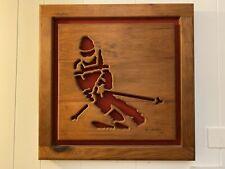 KEN DADDARIO Wood Skier Ski Signed 79/500 Olympic Art 1984