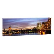 Köln - Panoramabild Bilder auf Leinwand  Poster Wandbilder XXL 120 cm*40 cm 524