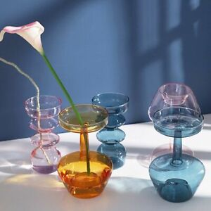 Home Bottle Glass Art Vase Tabletop Transparent Flower Office Room Decoration
