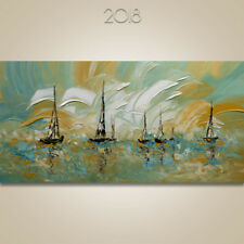 Abstract Ship Original Canvas Wall decor Wall Art Painting Modern Boats Art #406