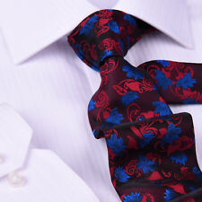 "Red Rose Tie 3"" Floral Necktie Blue Contrast Italian Designer Stylish Fashion"