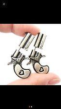 New Fake Double Pistol Gun Shaped Faux Plug Stud Earrings For Women