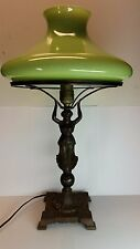 Antique,Vtg Art Deco Table Lamp Lady Holding Green Glass Shade 1930's-1940's
