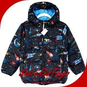 NWT HANNA ANDERSSON REVERSIBLE DOWN JACKET BLACK BLUE SPACE PRINT 110 5