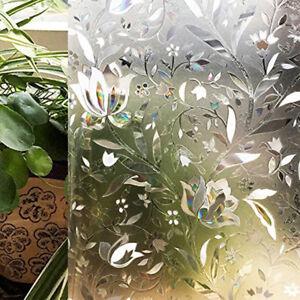 Bathroom Glass Floral Film Window DIY Non-Adhesive Static Film Anti-UV Sticker