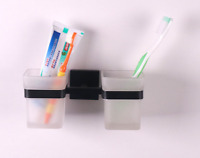 Black Stainless Steel Bathroom Two Cups Tumbler Toothbrush Holder Wall Mounted