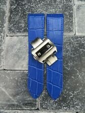 23mm Blue Leather Strap Band Buckle Set Large for fits CARTIER Santos 100 XL