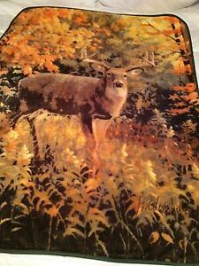 """Northwest Fleece Deer Design Throw Blanket 48""""x60"""""""