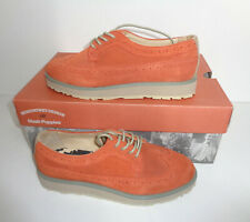 Hush Puppies Ladies New Women's Ronnie Flat Lace Up Suede Orange Brogues Size 4