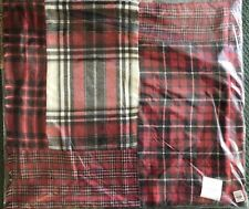 """Pottery Barn Pillow Cover Plaid LANDON PATCHWORK 24"""" SQUARE Christmas New Red"""
