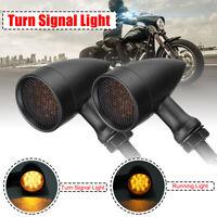 2x 10mm LED Bullet Blinker Signallicht Lampe Schwarz Für Harley Chopper Bobber
