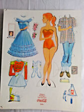 Vintage Coca Cola  Paper Doll Seasons Greeting 1950's Coke Betty Toy