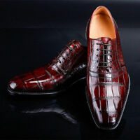 Handmade Men's Genuine Brown Calf Leather Crocodile Print Formal Lace-Up Shoes