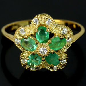 NATURAL AAA GREEN EMERALD OVAL & WHITE CZ STELRING 925 SILVER FLOWER RING 7.75