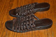 Womens Brighton Brown Woven Leather Tifany Slide Sandal Shoe 8.5 N