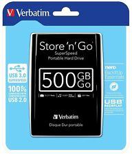 Verbatim Store 'N' Go - Hard Disk Esterno Portatile, USB 3.0, Nero,Grigio 500 GB
