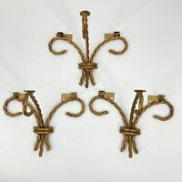 3 Vtg Home Interiors Gold Tone Metal Rope Wall Mount Brackets for Glass Shelf
