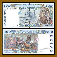 W.A.S. West African States, Ivory Coast 5000 (5,000) Francs, 2002 P-113AI AU/Unc