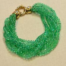 Finest Colombian Emerald Bead 14k Solid Yellow Gold Diamond Bracelet 7 inch