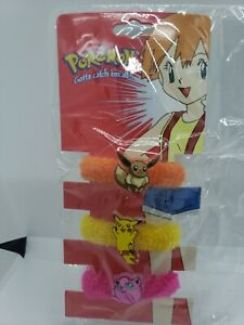 Pokemon Hair Tie pony tail vtg anime accessories Pikachu Evee licensed 1999 noc