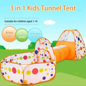 Portable 3 in 1 Kids Baby Play Tent Ocean Tunnel Ball Pit Playhouse Pop Up UK