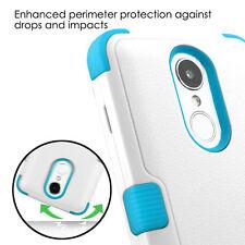For LG Harmony / V5 / K20 Plus (M250) - Hybrid HARD&SOFT Phone Case White + Blue