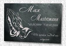 Gedenkplatte Grabstein Gedenktafel Grabtafel mit Wunschtext in Schiefer Motiv H1