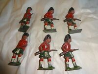 Vintage Scottish Toy Soldiers x 6, Metal Collectable Militaria