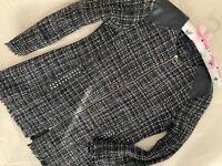 ZARA Basic parka black jacket long coat size 10 Medium autumn cardigan jumper