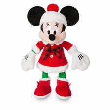 """MINNIE MOUSE HOLIDAY PLUSH 15"""" H """"DISNEY STORE 2017"""" ON FOOT PLAID & FURRY TRIM"""