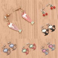 Cute Cat Ice Cream Cherry Earrings Ear Drop Dangle Ear Stud Cartoon Jewelry Pair