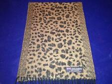 100% Cashmere Scarf Brown Black Leopard Scotland Warm Wool Check Plaid Wrap C62