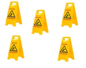 AKTION  5 Stück Warnschild-Vorsicht Rutschgefahr-Vorsicht Glatt TOP Qualität