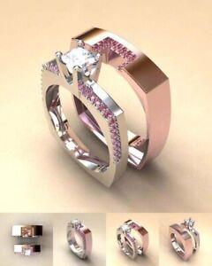Luxury 2Pcs/Set Women Rose Gold Color Wedding Crystal Ring Set Jewelry Size 7